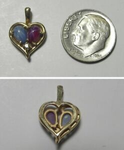 C1118 Estate 14K Solid Yellow Gold Lab Star Sapphiire & Star Ruby Heart Pendant