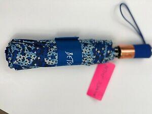 "Betsey Johnson SKULL Sequin Blue Print Auto Open 42"" Umbrella Rubber Handle NWT"