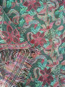 "Vintage tapestry throw afghan Christmas poinsettias fringed edge 74"" x 54"""