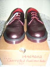 DR Martens Airwair Made in England taglia 10 Rosso Ciliegia 1461 anilmorbido shoe-bnib
