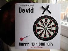Handmade Personalised Male Darts Dart Birthday Card Dad Husband Son Grandad