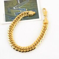 "Men's Bracelets GF Thick Chain 18k Yellow Gold Filled 9.4"" Link 11mm Jewelry"