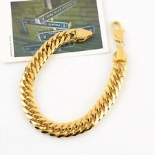 """Men's Bracelet 9.4"""" Link Thick Chain 18k Yellow Gold Filled Fashion Jewelry 11mm"""