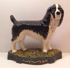 Vintage Large Cast Iron Hand Painted Dog English Setter Doorstop Black Pet