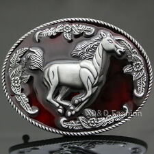 Western Cowboy Silver Mustang Wild Horse Stallion Brocade Rodeo Belt Buckle H9