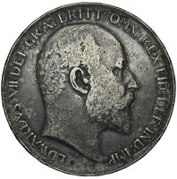 1902 CROWN - EDWARD VII BRITISH SILVER COIN