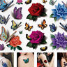 Temporary Tattoo Stickers Body Art Colorful Rose Flower Butterfly 3D Waterproof