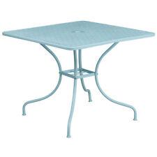 35.5'' Square Indoor-Outdoor Restaurant Patio Table in Sky Blue Steel Metal