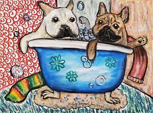 french bulldog in clawfoot tub dog 13x19 art artist PRINT animals impressionism