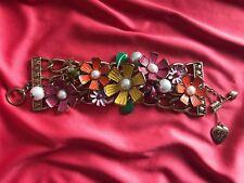 Betsey Johnson Vintage Flower Girl Ladybug Frog Pearl Daisy Statement Bracelet