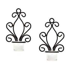 2 Iron Angel Wall Sconce Tealight Candle Holders for Spa Message Bathroom Votive
