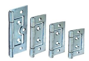 2 x Flush Door Hinges ZINC or BRASS 40,50,60,75mm Small Large Cabinet Cupboard