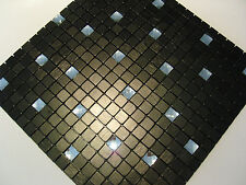 Vetro effetto piastrelle a mosaico argento mosaico Metallo Lucido Nero Diamante Top