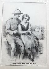 Vintage Print 1920 World War I Dough Boy and French Girl by R. M. Crosby
