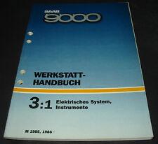 Werkstatthandbuch Elektrik Saab 9000 Elektrisches System Instrumente 1985 / 1986