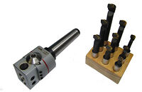 """RDGTOOLS 3MT SILVER BORING HEAD KIT MILLING LATHE IMPERIAL + 9PC 1/2"""" TOOLS"""