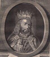 Portrait XVIIIe Rodolphe De Habsbourg Roi Des Romains Duc D'Autriche Rudolf I.
