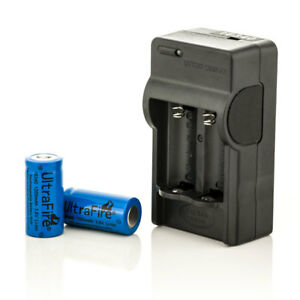 UltraFire Set Digital Ladegerät + 2x 16340 1200mAh CR123A 3,6V BRC Akku Batterie