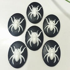 6pcs Vintage spider convex Cameo oval resin flatback scrapbook for craft