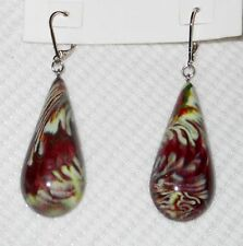 "2.5"" Dangling Earrings Brazil Import Sobral Kandinsky Deep Wine Hues Makau"