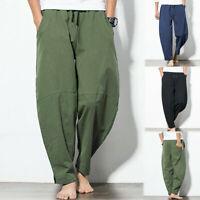 Men's Casual Fashion Loose Cotton Linen Pure Color Pocket Comfort Long Pants