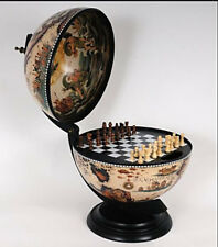 Vintage Old Fashioned World Globe With Interior Chess Set & Inner Lid Frescoes