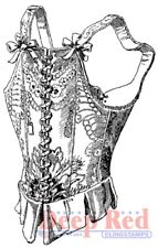 Deep Red Stamps Victorian Corset Rubber Cling Stamp
