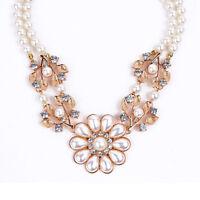 Elegant Damen Halskette mit große Blumen Anhänger aus Perlen Juwelen Modeschmuck