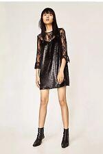 Zara Noir Contraste en velours & dentelle Combi Robe Taille S UK 10 BNWT