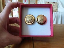 Brand new huge round textured  gold look clip-on earrings with gift box