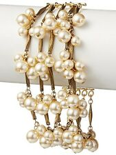 David Aubrey Hadrien USA Made Gold Chain & Simulated Pearl Fringe Bracelet NWT