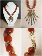 Carnelian Necklace Vintage artisan Tribal Breastplate dangles