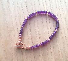"Purple Amethyst Beaded Bracelet (February Birthstone), Rose Gold Plated, 8"""