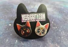 Luna and Artemis Stud Earrings Handmade Sailor Moon
