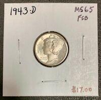 1943-D U.S. SILVER MERCURY DIME ~ MS/UNC+++++ FSB CONDITION! C2402