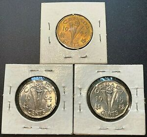 1943, 1944, 1945 Canada Victory 5 Cent Coins - Great Condition