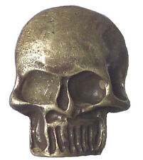 1 Knopf 30 mm Metall Totenkopf mit Öse altsilber echt versilbert