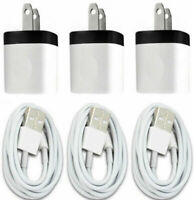 3X White Home Wall AC Charger for iPhone 7 iPhone X 8 +Data Sync USB Cable Cord