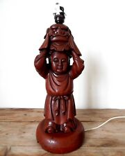 Large Vintage Chinese Buddha & Dog Statue Table Lamp Light Base Antique Wood
