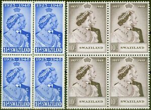 Swaziland 1948 RSW set of 2 SG46-47 in V.F MNH Blocks of 4