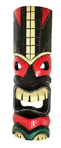 TIKI Mask Wooden Wall Plaque 50cm Hand Carved Painted SURFER/ MAORI STYLE PALM