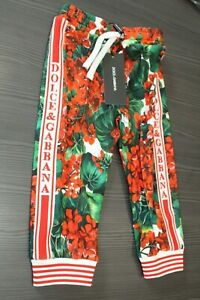 Dolce & Gabbana Side Stripe Floral Joggers 18-24 months Brand New with Tags