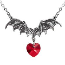 Estaño alquimia Vampiro LOVEHEART Colgante Murciélago, Rojo Swarovski + caja De Regalo Gratis
