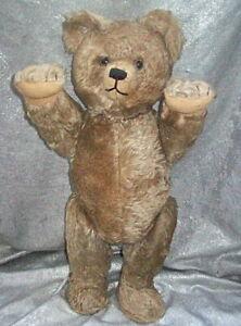 "RARE 21"" TALL SHUCO MOHAIR TRICKY YES / NO HEAD TURNING TEDDY BEAR w/ GLASS EYES"
