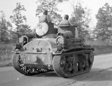 Photo. WW2. 57th Infantry Brigade - Riding M3 Stuart Light Tank