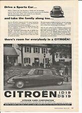 Vintage 1958 Citroen Auto Car Original Magazine Print Ad