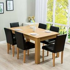Ctf 7-Piece Dining Room Set Oak Colour Dining Table /w 6 Black Pu Padded Chairs