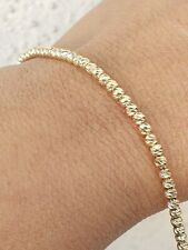Solid 14k Gold Ball Beads Bracelet Diamond Cut Womans 7-7.5 inch long adjustable