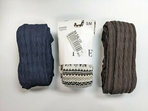 Hue - Lot of 3 Women's Sweater Tights - Brown, Off-White, Navy Size S/M NEW