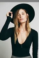 New Free People Intimately Womens Fitted Deep V Neck T-Shirt Long Sleeve Top $48